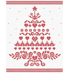 Christmas Ukrainian ornament red tree seaml vector
