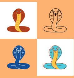 cobra snake icon set in flat and line styles vector image