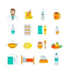 Cold and flu treatment flat icons vector