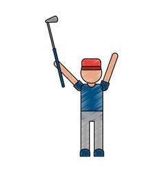 color pencil cartoon faceless full body golfer man vector image