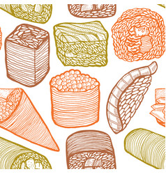 colored sushi pattern in hand drawn style vector image