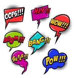 comic speech bubbles burst boom wow hey ok vector image