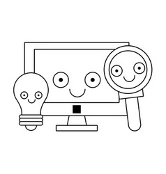 computer and magnifying glass with bulb light in vector image