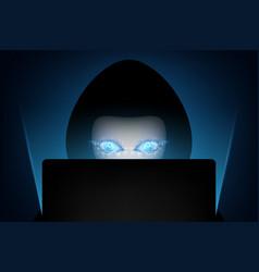 Computer hacker silhouette hooded man vector