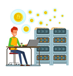 concept cryptocurrency businessman mining vector image
