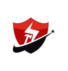 Construction shield logo design template vector