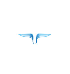 creative blue wings logo vector image