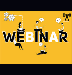 creative word concept webinar and people doing vector image