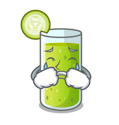 Crying delicious cucumber juice on table cartoon vector