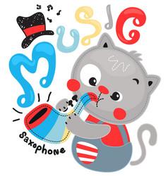 Cute cartoon cat blowing saxophone vector