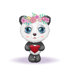 Cute little panda with big eyes and in a wreath vector
