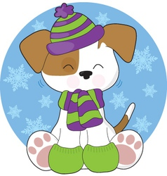 cute puppy winter vector image