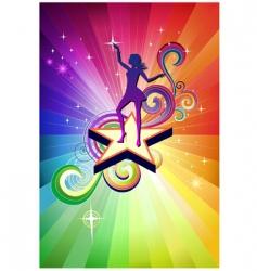 disco dancing girl vector image