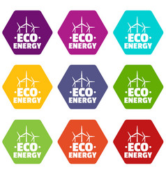 eco energy icons set 9 vector image