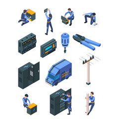 electrician working isometric people in uniform vector image