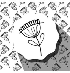 Emblem with flower with leaves and rustic vector