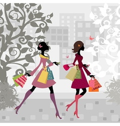 Fashion shopping city girls vector