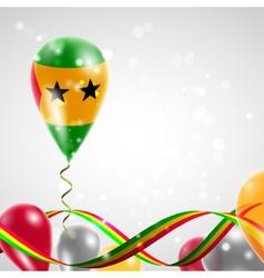 Flag of Sao Tome and Principe on balloon vector