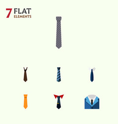 flat icon clothing set of tie cravat suit and vector image