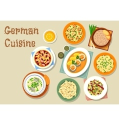 German cuisine icon with bavarian dishes vector image