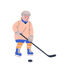 Happy blonde boy playing ice hockey game vector