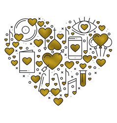 Heart shape with love elements in gold heart vector