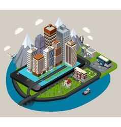 Isometric Mobile City Concept vector image