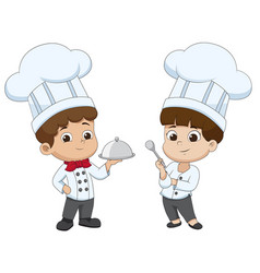 Kid cartoon chef are preparing food vector