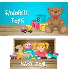 Kids Toys Horizontal Compositions vector