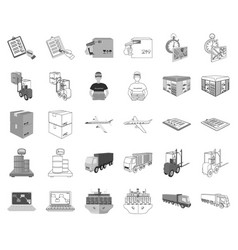 logistics and delivery monochromeoutline icons in vector image