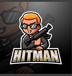 Mafia hitman mascot esport logo design vector