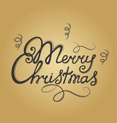 merry christmas hand lettering festive vector image