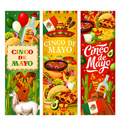 mexican flag cinco de mayo food and fiesta symbols vector image