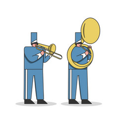 Military orchestra musicians in festival uniform vector