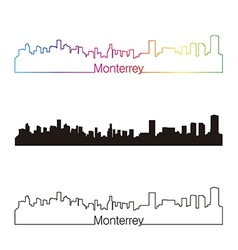 Monterrey skyline linear style with rainbow vector