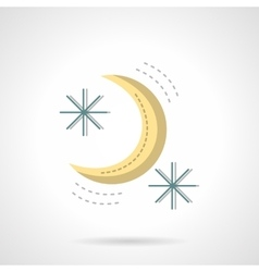 Moon and stars abstract flat color icon vector image