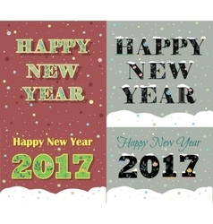 New Year greeting cards Artistic floral font vector