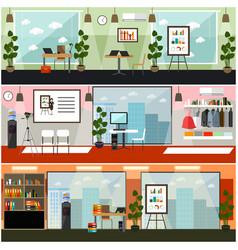 Office interior flat poster set vector