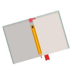 Open book with clean sheets and pencil vector