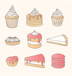 Pastry collection of cakes pies tarts muffins vector