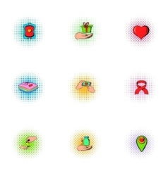 Patronage icons set pop-art style vector