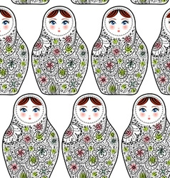 Pattern with the Russian dolls matrioshka Babushka vector