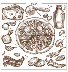 pizza ingredients sketch icons for italian vector image