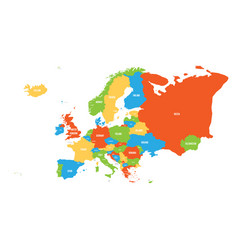 political map of europe continent in four colors vector image