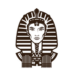 Portrait of pharaoh africa egypt egyptian logo vector