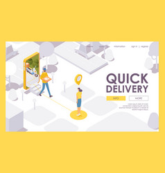 quick food delivery from mobile app landing page vector image