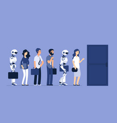 robots and people unemployment android and man vector image