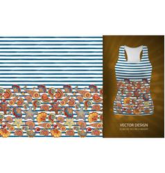seamless pattern of seashells on striped vector image