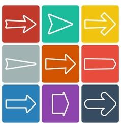 set colorful flat arrows vector image