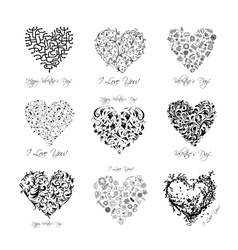 Set of valentine hearts for your design vector image
